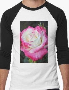 Pink and white rose Men's Baseball ¾ T-Shirt