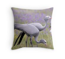 Blue Crane birds Throw Pillow