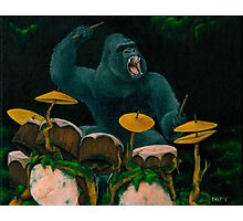 Gorilla Jungle Drums Photographic Print