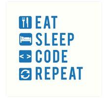 Eat Sleep Code Repeat BLUE Art Print