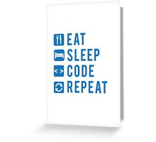 Eat Sleep Code Repeat BLUE Greeting Card