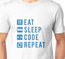 Eat Sleep Code Repeat BLUE Unisex T-Shirt