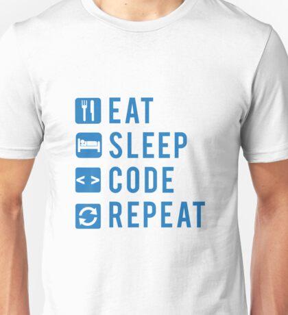 Eat Sleep Code Repeat BLUE Unisex T-Shirt