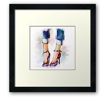 Shoes. Hand painted fashion illustration  Framed Print