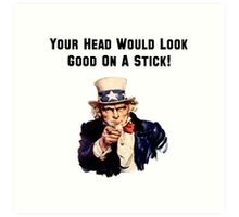 Uncle Sam Head Stick Art Print