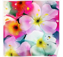 Bunch of flowers. Watercolor Poster