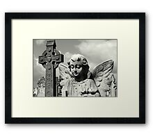 Angel and Irish cross Framed Print
