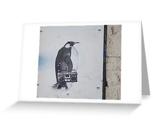 Hip Hop Stereo Penguin Greeting Card
