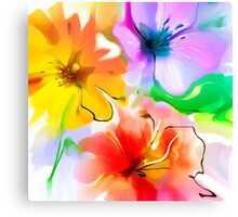 Bunch of flowers. Watercolor Canvas Print