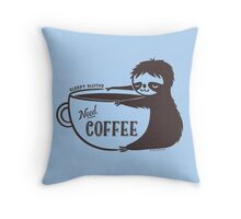 Sleepy Sloths Need Coffee  Throw Pillow