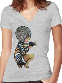 Smile baby macro photography Women's Fitted V-Neck T-Shirt