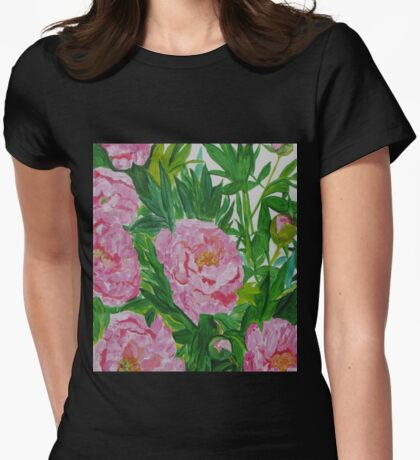Peonies in Bloom Womens Fitted T-Shirt