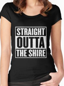 Straight Outta The Shire - Movie Mashup - Hobbit Homeboys - Nerd Humor - Hobbits Women's Fitted Scoop T-Shirt
