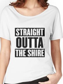 Straight Outta The Shire - Movie Mashup - Hobbit Homeboys - Nerd Humor - Hobbits Women's Relaxed Fit T-Shirt