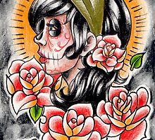 Day of the Dead Gypsy Tattoo Flash Drawing by MissCarissaRose