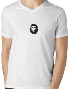 Che White on Black Mens V-Neck T-Shirt