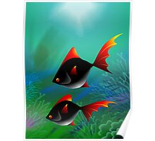 Fantasy of the fishes swimming in the sea Poster