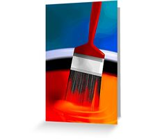 Painting brush immersed in the colourful paint	 Greeting Card