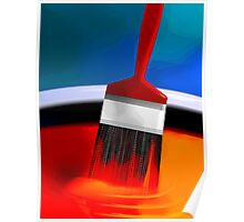 Painting brush immersed in the colourful paint	 Poster