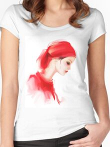 Fashion woman profile portrait  Women's Fitted Scoop T-Shirt