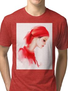 Fashion woman profile portrait  Tri-blend T-Shirt