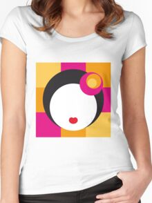 Geisha Girl in Squares Women's Fitted Scoop T-Shirt