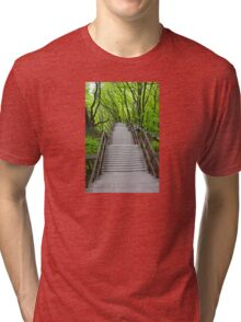 Wooden stairs to the Mons Klint, Denmark Tri-blend T-Shirt