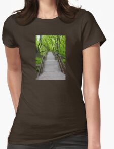Wooden stairs to the Mons Klint, Denmark Womens Fitted T-Shirt