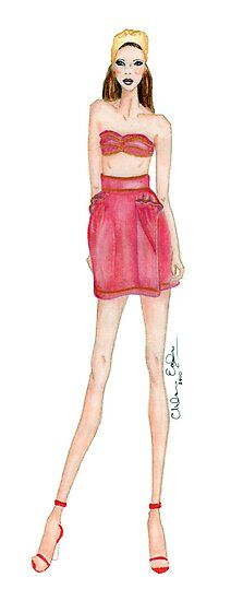 Yves Saint Laurent YSL Cruise 2010 Fashion Illustration  by Chelsea Easley