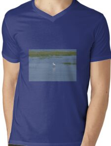 Egret bird Mens V-Neck T-Shirt