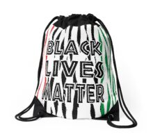 Black Lives Matter Tiger Print Drawstring Bag