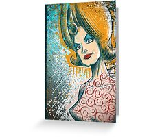 Mars Attacks art tim burton woman martian girl lisa marie poster drawing science fiction cult classic b-movie bmovie sci fi sexy joe badon Greeting Card