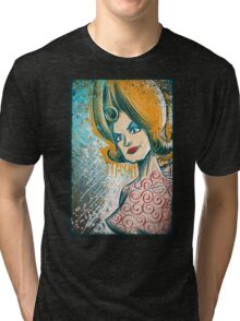 Mars Attacks art tim burton woman martian girl lisa marie poster drawing science fiction cult classic b-movie bmovie sci fi sexy joe badon Tri-blend T-Shirt