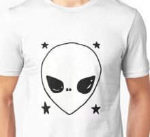 Black and White Alien with Stars Unisex T-Shirt