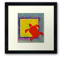 RED HONU SEA TURTLE YELLOW SQUARE Framed Print