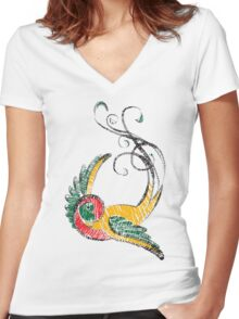 Scribbly Swallow Women's Fitted V-Neck T-Shirt