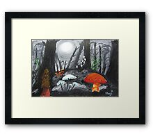 Moonlit Mushrooms Framed Print