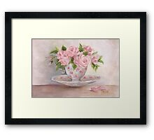 cup and saucer floral rose oil painting Framed Print
