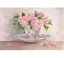 cup and saucer floral rose oil painting Photographic Print