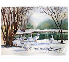 Geese in the Snow Poster