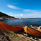 Green and Orange Fishing Boats by Stephen Rowsell