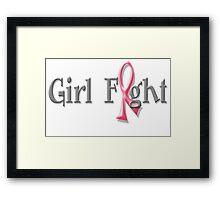 Girl Fight for Breast Cancer Awareness Pink Ribbon Framed Print