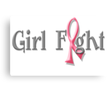 Girl Fight for Breast Cancer Awareness Pink Ribbon Canvas Print