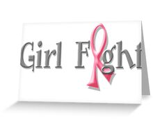 Girl Fight for Breast Cancer Awareness Pink Ribbon Greeting Card
