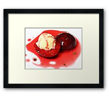 Roasted Plums with Honey, Thyme and Vanilla Frozen Yogurt Framed Print