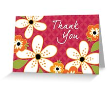 THANK YOU Card Frangipani Vintage Red Greeting Card