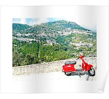Ravello: landscape with red scooter Poster
