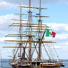 Sailing ship in the port by Dfilyagin