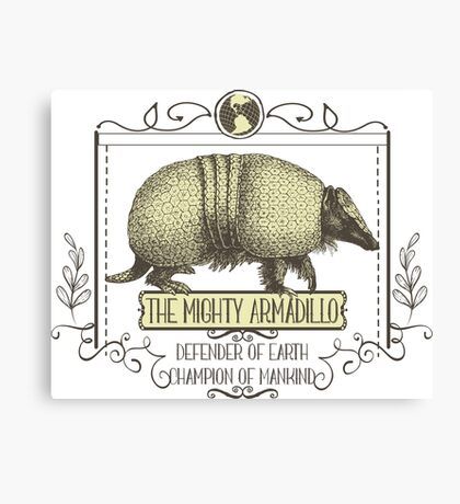 Funny animal mighty armadillo vintage super hero Canvas Print