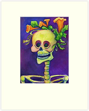 Day of the Dead Skeleton with Pumpkin Blossoms by Candace Byington